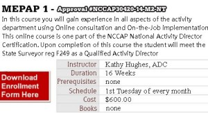 Become an NCCAP Approved Activity Director in 16 weeks