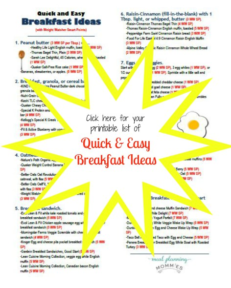 Click here for a printable list of quick and easy breakfast ideas with Weight Watcher Smart Points